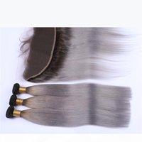 Oscuro arraigado # 1b Ombre gris 13x4 Lace Frontal Clsoure con 3 ofertas de paquetes Straight Ombre Silver Grey Malassian Hair Weaves con Full Frontals