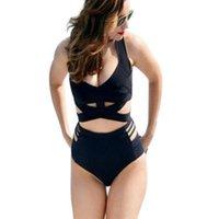 Women's Swimwear Solid Color High Waist Hollow Bikini Swimsuit Split Sexy Women Plus Size Womens
