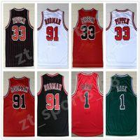 농구 판매 남자 # 1 데릭 로즈 33 스코틀리 Pippen 91 Dennis Rodman Jerseys 화이트 레드 블랙 스트라이프 100 % 스티치 레트로