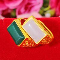 Anéis de Casamento Moda Escavação Flor Para Mulheres Homens Cobre Banhado Areia Ouro Open Ring Bands Green Stone Party Jóias