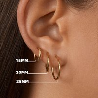 Gold Color Small Hoop Earrings Hip Hop Stainless Steel Circle Round Huggies for Women Men Ear Ring Bone Buckle Fashion Jewelry 15mm 20mm 25mm