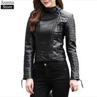 Women's Leather & Faux Spring Autumn Jacket Women Stand Collar PU Short Slim Biker Jackets Long Sleeve Plus Size Black Wild Motorcycle Coat