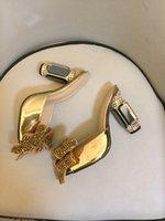 2021 women Ladies Genuine real leather Rhinestone high heels sandals summer Flip-flops slipper slip-on wedding dress Gladiator shoes diamond Ballots 3D bow tie