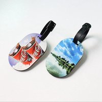 Sublimation Blank Travel Luggage Tag MDF Wood Funky Luggage Label Straps Suitcase Tags Cute Bags Accessories Double-sided Party Favor JJA190