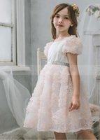 Abiti da ragazza Fashion Champagne Robble Ruffles Flower Girl Dress per Matrimonio V Back Cap Sleeve Princess Pageant Gown