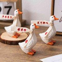Modèle de canard en bois Accessoires Accessoires pour animaux Modernes Figurines d'animaux Rustique Mariage Fairy Jardin Miniatures Décor de Noël