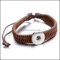 Charm Jewelry 18Mm Snap Buttons Leather Bracelets Fashion Braided Rope Wrap Bangle Bracelet For Women & Mens Noosa Jewelry Wholesale Drop De