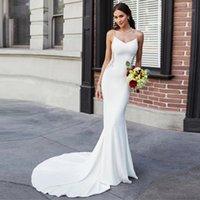 Other Wedding Dresses WUZHIYI Romantic Boho Sexy Backless Mermaid Gowns Spaghetti Straps Sleeveless Soft Satin Beaded Bridal Plus Size1