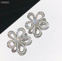 Vintage Brand Designer White Gold Full Crystal Charm Hollow Five Leaf Clover Flower Big Earrings Jewelry For Women