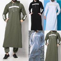 Musulmans Hommes JUBBA THOBE ARABE Vêtements Islamic Robe longue Saudi Arabie Robe Abaya Dubai Blouse lâche Kaftan Pull DFF1933