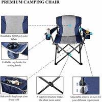 USA Stockg Übergroßer Camping tragbarer Stuhl mit kühlerer Beutel Faltende Stahlrahmen zusammenklappbare Unterstützung 350 lbs Nettogewicht 11LBs Angeln Beach Party Picknicks