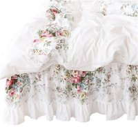 4 unids estilo coreano beige princesa ropa de cama de lujo rosa impresión encaje edredón cubierta volantes colchas lámina de algodón reina reina tamaño 487 R2