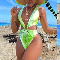Tie Dye One Piece Costume da bagno Nuovo Monokini Backless Swim Suit Suit da bagno Costume da bagno Beach V Collo Swimwear Donne Bodysuit 210324
