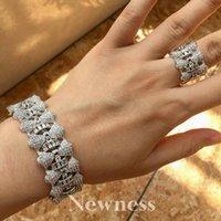 Earrings & Necklace Ness Geometry Design Full Micro Cubic Zirconia Party Wedding Saudi Arabic Dubai Wide Bangle Ring Set