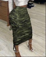 Sexy Spring Autumn Camouflage Women Skirts Print Pocket Design Ruched Maxi Cargo Skirt
