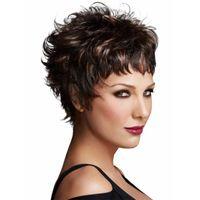 10 Zoll Mode Kurzer Bob Perücken Frauen Neue Kurz Mini Curly Haarperücken Für Frauen Pixie Cut Synthetische kurze Perücke für Schwarz / Weiß Frauen