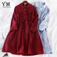 Yuoomuoo vintage bolsillos diseño mujer camisa vestido 2021 otoño invierno cordón un vestido Midi vestido elegante damas vestidos de oficina