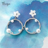 Thaya Plum Earring Stud For Women Silver-Pins Shell Engrave Rings Pearls Wedding Jewelry Accessories