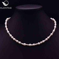 Xlentag Romantische natürliche weiße Perlen Choker Halskette Frauen Accessoires Bester Freund Euro Out Winkel Luxus Hip Hop Jederly GN0209