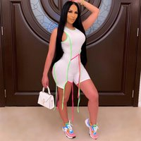 Frauen Bänder Shorts Jumpsuits Rundhals Sleeveless Reißverschluss Elastic Sexy Bandage Skinny Strampler Solid Bodycon Fitness Casual Sports Partywear Body Outfit