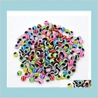1000 stücke gemischt bunte perlen runde böser harz augen perlen streifen spacer perlen schmuck mode diy armband herstellung 4 5 6 8 10mm pjj0l vy5wf