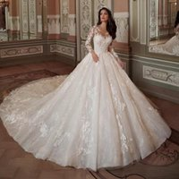 Other Wedding Dresses Custom Made Long Sleeve Ivory Luxury Ball Gown Chapel Train Lace Up Back Robe De Mariee Princesse Luxe