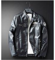 Designer Mens Jacken Frühling Motorrad PU Slim Printed Herrenmäntel Casual Langarm Männliche Leder Oberbekleidung