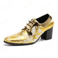 Fashion High Heels Mens Shoes Pointed Toe Golden Leather Ankle Boots Men Lace-up Shoes for Wedding Party