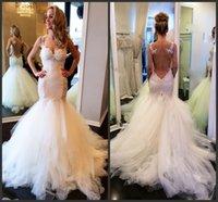 Vintage Lace Mermaid Backless Wedding Dresses Sheer Bolero Sweetheart See Through Puffy Bridal Wedding Dress Gowns 2015 Vestidos de Novia