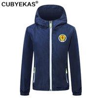 2021 İskoçya Futbol erkek Trençkot Futbol Rüzgarlık Ceketler Fermuar Kapşonlu Erkekler Rahat Ceket Hoodie Coat Baskı Takımı Rozeti Asya Boyutu S-4XL