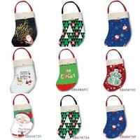 Meias de Natal Papai Noel Sock Bags Moda Xmas Saco de Presente de Árvore Pandent Crianças Cute Elk Letras Impresso Festa Feliz Ano Novo Decorações Brinquedos G89YV27