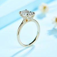 Ringe KuoLolit 3CT Moissanite 585 10k 14k Wit Geel Rose Gold Ring Vrohuwen Labor Diamonds Luxe Engagement Jubiläum