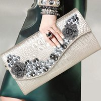 PU Real Leather Handbags New Fashion High Quality Rhinestone Ladies Bags Luxury Crocodile Pattern Single Shoulder Formal Party Messenger