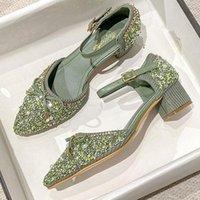 Dress Shoes Women Glitter Pumps Plus Size 34-43 Fashion Pointed Toe Med Heel Ankle Buckle Strap Bowtie Block Heels S