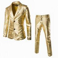 Toptan-Blazer Erkek Slim Fit Pantolon Ile Slim Fit Suits Düğün Damat Son Ceket Tasarım Erkek Sahne Giyim Elbise Erkekler Için Altın Blazer Sing 78So #