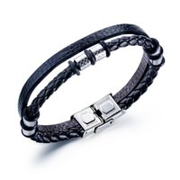 Tennis Leather Bracelet, Cowhide Braided Double Layer Men's Stainless Steel Bracelet And