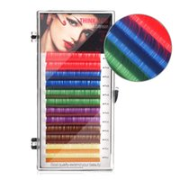 Regenbogenfarbe Falsche Wimpernverlängerungen C / D Curl 10-15mm Synthetische Faser Handmade Wimpern 1 Tablett Einzelne Wimpern Make-up-Tool