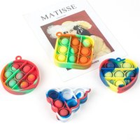 Fidget Sensory Bubble Decompression Toys Push Puzzle Toy Key Chain Gobang Rainbow Colors Kids Adult Anxiety Stress Reliever Pendants G50ZQ43