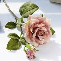 Реалистичные скрученные подарки розовые ежедневные домашние рождественские украшения отель искусственный цветок розы букет свадьба реквизит EWE6636