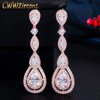 Dangle & Chandelier CWWZircons Rose Gold Color Luxury Long Round Water Drop Elegant CZ Earrings For Women Bridal Wedding Jewelry Dress CZ766