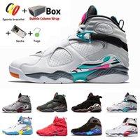 مع Box South Beach Jumpman 8 VIII 8s حذاء كرة السلة للرجال متعدد الألوان عاكس Quai 54 Raid Three Peat Aqua Chrome Valentine's Daymens Sports Sneakers