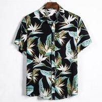 Camicie casual da uomo Leviortin Men Shirt Hawaiian Camicia Hawaiana Pianta tropicale Stampato Vacanze Collare diurno