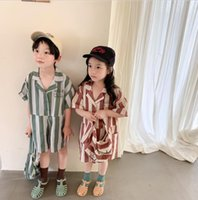 Jumpsuits 2021 Stlye Girls Boys Striped Overalls+Bag Summer Cotton Fashion Kids Pants 2-7t CO486