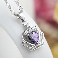 Sterling Silber Halskette Royal Crown Anhänger 2 Farben Zirkon 18Inches 925 Box Kette Schlüsselbein Jubiläumsgeschenk