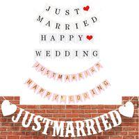 Je viens de marier joyeux anniversaire Bannière Banner Lettre suspendu Guirlands Pastel String Drapeaux Baby Douche Decor de mariage DHF7009