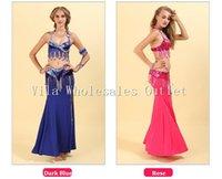 Belly Dance Costume S M L 3pcs Bra&Belt&Skirt Sexy Dancing Women Clothes Set Bellydance Wear 6 Color For Selection VL-255 Stage
