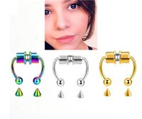 Fashion Trendy Nose Rings Magnetic Septum Fake Nose's Ring Horseshoe Hoop Clips Reusable Studs Cuff Non Piercing Jewelry For Women Men