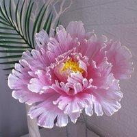 الزهور الزهور اكاليل محاكاة الكتان كبير الفاوانيا زهرة الاصطناعية خلفية الزفاف جدار المنزل وهمية