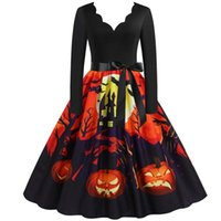 Casual Dresses Halloween Costume Party For Women 2021 Vintage Plus Size Long Sleeve Evening Deep V-Neck Prom Dress Vestidos Mujer L4