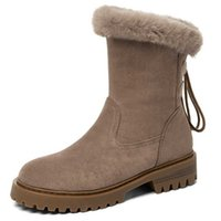 ZawsThia High Quality Brown Faux Suede Womans Winter Warm Shoes Cozy Rabbit Fur Plush Women Ankle Snow Boots Plus Size 43 210611